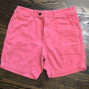 Men's salmon colored red fleece shorts
